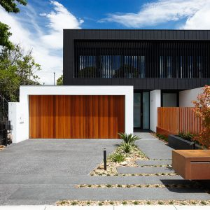 Exterior Home Designs With Entry Fence Plus Black Driveway Also Exposed Aggregate And Roof Lines With Small Garden Ideas For Contemporary Landscape Also House Number On Modern Mailboxes