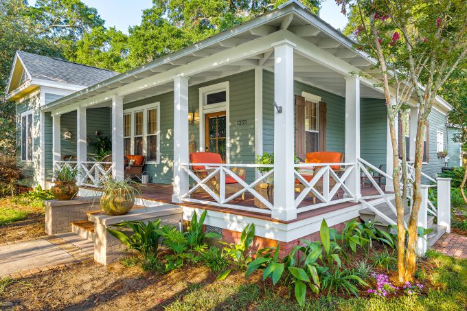Exterior Paint Colors With Window Trim And Windos Shutters Plus Transom And Exterior Lighting With Porches Also Wood Deck And Porch Railings With Front Yard Landscape