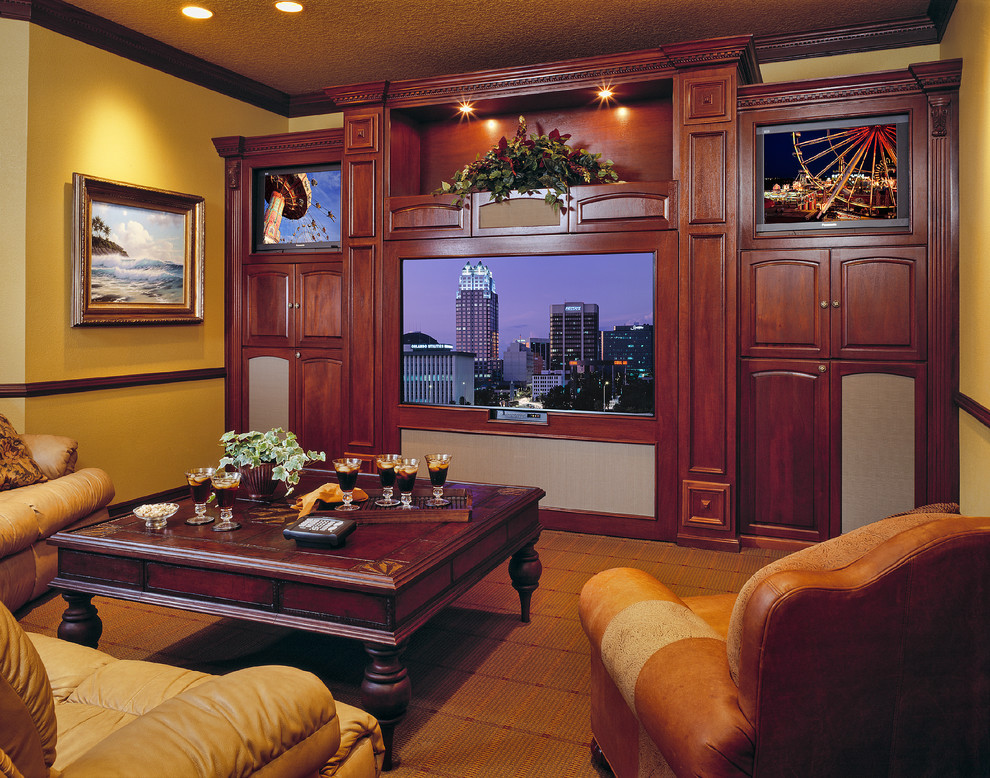 Custom Entertainment Centers for Inspiring Storage Ideas: Fabrica Carpet With Brown Leather Sofa And Coffee Table In Traditional Living Room With Custom Entertainment Centers And Crown Moulding Plus Ceiling Lights Also Sconces