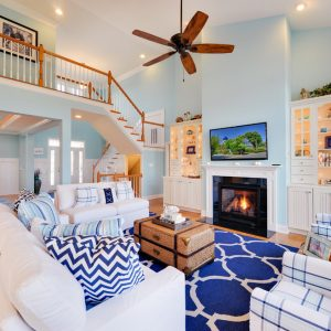 Fascinating Beach Style Living Room Plus Blue Patterned Carpet And Decorative Pillows For Couches With Inspiring White Sofa Also Plaid Armchairs And Hammary Furniture With Built In Glass Cabinets