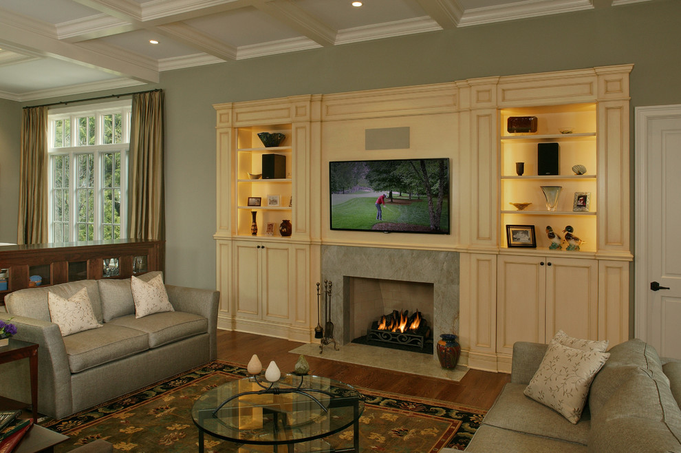 Custom Entertainment Centers for Inspiring Storage Ideas: Fireplace Mantel With Custom Entertainment Centers And Coffered Ceiling In Traditional Living Room With Contemporary Curtain And Modern Sofa Plus Round Coffee Table Also Feizy Rug