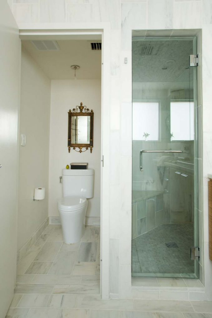 Glass Shower Door And Marble Flooring Also Water Closet Plus Mirror With Neutral Colors For Contemporary Bathroom Plus Walk In Shower Ideas And Small Space Bathroom Ideas