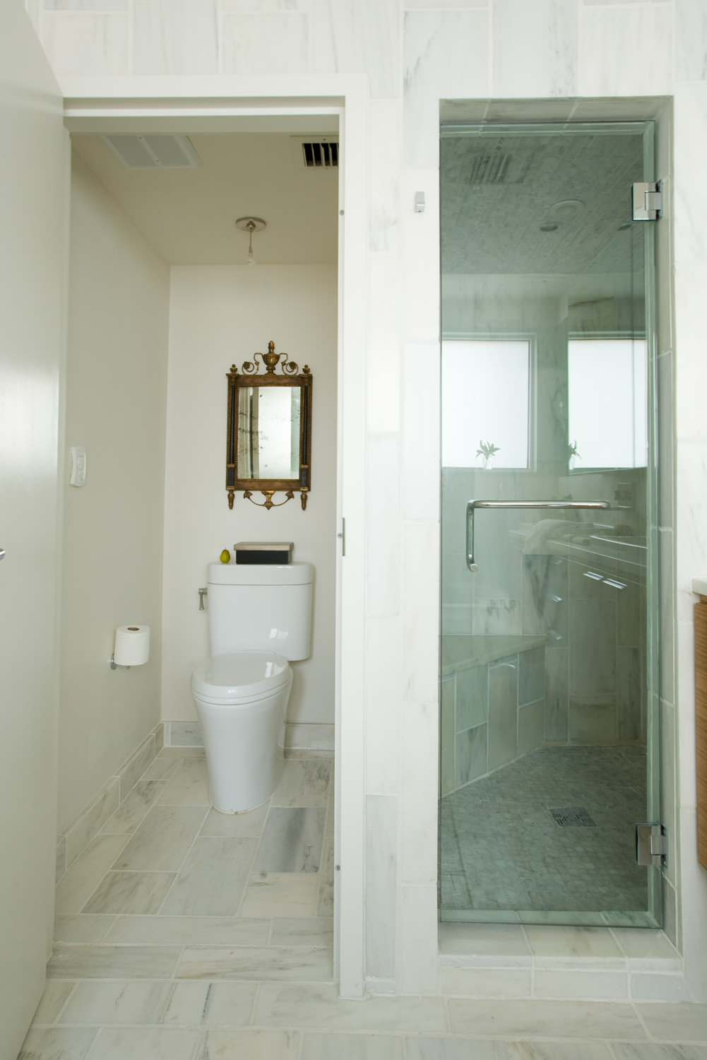 Inspiration for Remodeling Bathroom Using Water Closet: Glass Shower Door And Marble Flooring Also Water Closet Plus Mirror With Neutral Colors For Contemporary Bathroom Plus Walk In Shower Ideas And Small Space Bathroom Ideas