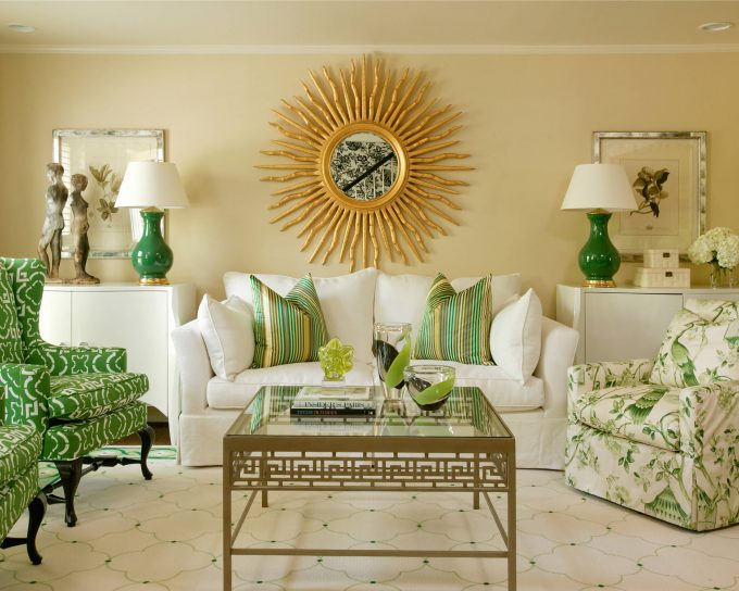 Green And White Rug And Green Armchairs Also Green Patterned Armchair With Decorative Pillows For Couches And White Sofa Plus Sunburst Mirrors With Green Cordless Table Lamp On Sideboards
