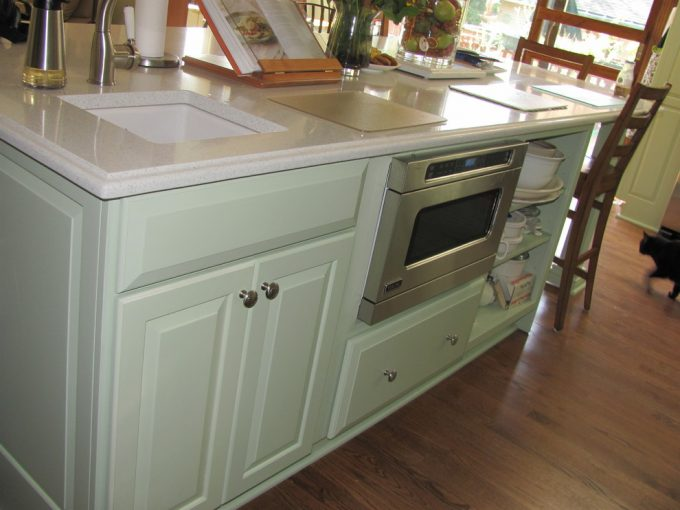 Hardwood Flooring Ideas Plus Custom Painted Cabinets With Undermount Farm Sink And Under Cabinet Microwave On Island With Quartz Countertops Also Under Cabinet Storage
