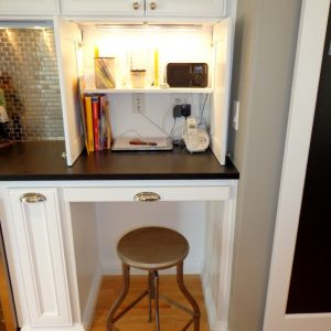 Hidden Desks In Traditional Kitchen With Mudroom Desk And Ideas For Small Kitchens Plus Phone Charging Station Also Stool For Desk With Junk Drawer And Workstation Plus Lighting