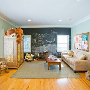 How To Make Chalkboard Paint With Crown Moulding And Ceiling Lights For Contemporary Kids Room Design With Tufted Sofa And Wood Tile Flooring Plus Beige Shag Rug Also Carpet Tiles