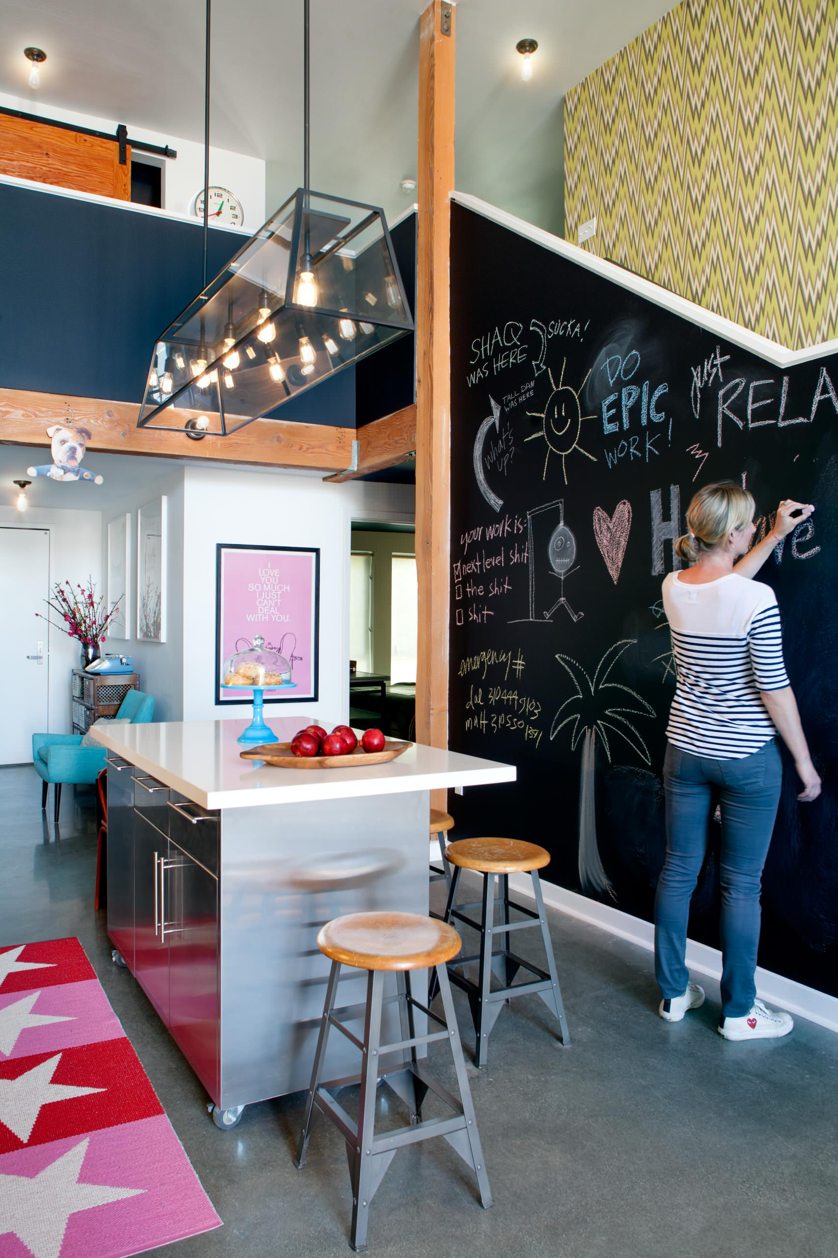 How to Make Chalkboard Paint for Interior Decorating: How To Make Chalkboard Paint With Linear Chandelier And Ceiling Lights For Eclectic Kitchen Design With Kitchen Island And Kitchen Bar Stools Plus Painted Concrete Floor Also Baseboard