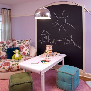 How To Make Chalkboard Paint With Purple Wall Decor And Sheer Curtain For Contemporary Kids Room Design With Modern Floor Lamp And Wood Flooring Plus Shag Rug Also Decorative Cushions