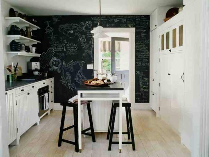 How To Make Chalkboard Paint With White Door Casing Style And White Kitchen Cabinets For Beach Style Kitchen Design With Kitchen Knobs And Pendant Lighting Plus Kitchen Bar Stools Plus Wood Flooring