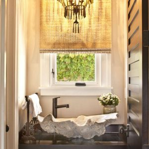 Inspiration Bathroom With Chandelier Plus Unique Bathroom Vanities And Shell Sink Also Towel Rack In Small Bathroom With Small Bathroom Remodel Ideas Plus Window Treatments