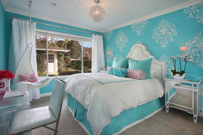 Inspiring Acrylic Desk In Transitional Bedroom With Custom Bedding Also Custom Headboard For Girls Room Plus Hanging Chair And Mirrored Nightstands With Tiffany Blue Paint Plus Wallpaper