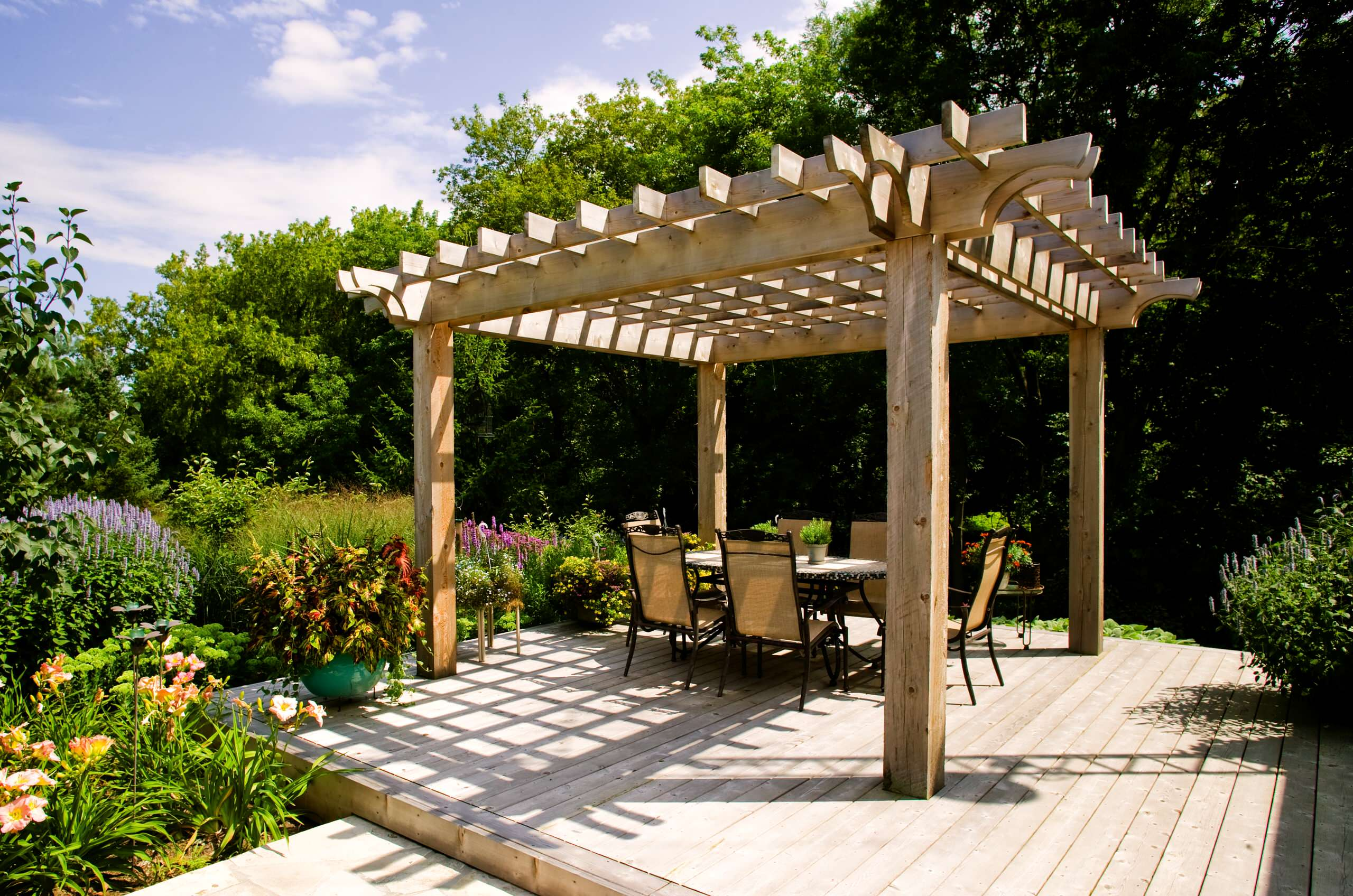 Inspiring Exterior House plus Pergola Ideas: Inspiring Arbour With Carpentry And Cedar Deck Plus Garden Ideas Also Patio Furniture With Outdoor Dining And Perennial Garden For Pergola Ideas With Softscaping In Backyard