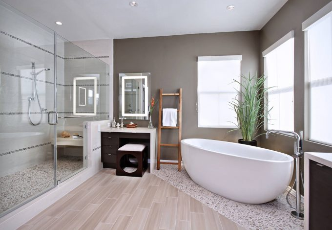 Inspiring Bathroom Flooring And Bathroom Mirror Plus Dressing Table Also Frameless Shower Door With Walk In Shower Plus Free Standing Bath Tub For Bathroom Remodeling With Mixed Flooring