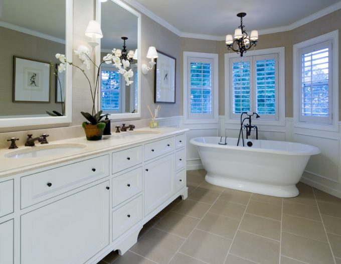 Inspiring Bathroom Lighting And Bathroom Mirror Plus Footed Cabinets Also Free Standing Bath Tubs With Neutral Colors For Traditional Bathroom Plus Towel Bar And Wall Sconce