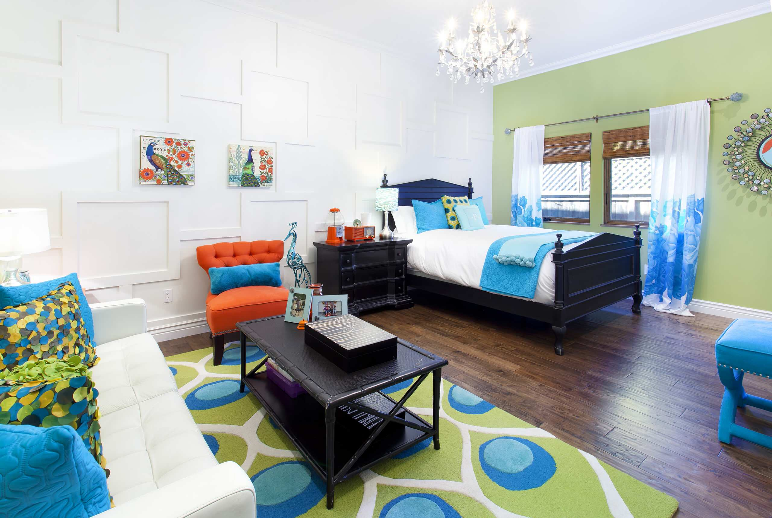 Inspiring Decorative Wall Panels with Visual Effect for Your Home: Inspiring Bedroom Chandelier And Black Bed Plus Black Coffee Table Also Decorative Pillows For Couches On White Sofa In Mediterranean Kids With Colorful Bedroom Plus Decorative Wall Panels