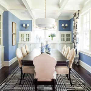 Inspiring Black And White Rug For Dining Room Plus Beige Upholstered Dining Chair Also Dark Dining Table In Transitional Dining Room With Blue Wall And Coffered Ceiling Plus Drum Chandelier