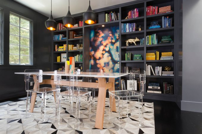 Inspiring Black Flooring Plus Bookshelves With Built In Bookshelf And Tom Dixon Lights On White Ceiling Plus Lucite Chairs On Awesome Carpet And Wallpaper In Contemporary Dining Room