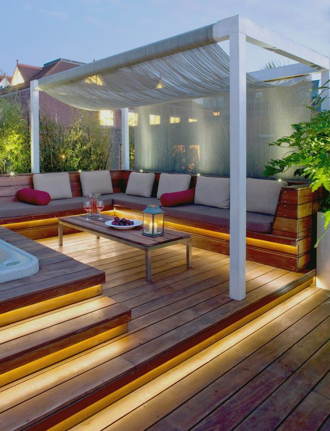 Inspiring Built In Bench For Contemporary Terrace With Corner Bench On Deck Plus Jacuzzi And Landscape Also Lanterns With London Roof Garden For Modern Deck Plus Deck Lighting