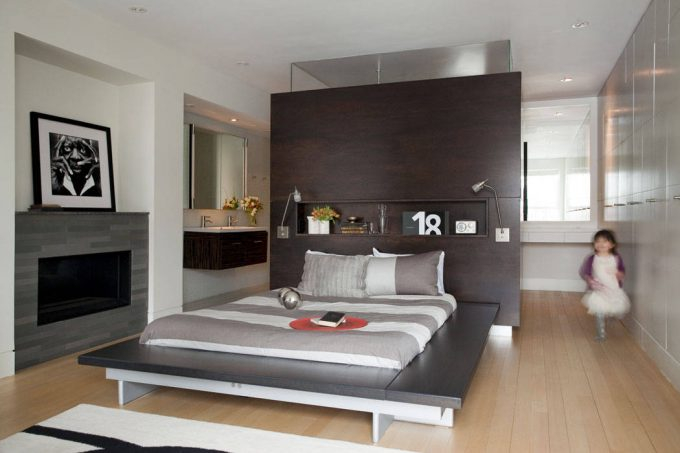 Inspiring Built In Storage And Master Suite With Neutral Colors And Platform Bed Plus Reading Lamp Also Swing Arm Lamp With Wall Lighting And Wood Flooring For Contemporary Bedroom Ideas