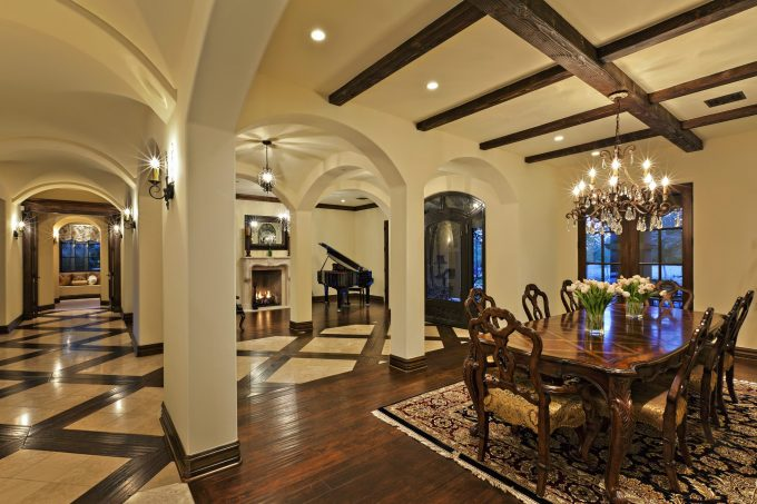 Inspiring Ceiling With Exposed Beams Plus Recessed Lighting And Crystal Chandelier Also Candle Wall Sconce With Dark Wood Dining Chair And Dark Wood Dining Table On Dark Wood Flooring With Best Way To Clean Hardwood Floors