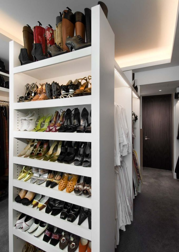 Inspiring Cove Lighting And Shoe Storage For Walk In Closet With Shoe Racks For Closets Ideas Plus Tall Shelves Also Closet Lighting With Polish Concrete Flooring And Recessed Lighting