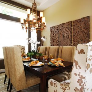 Inspiring Custom Dining Chairs And Floral Seating With Nature Inspired And Neutral Colors Also Orchid In Transitional Dining Room With Decorative Wall Panels And Upholstered Dining Chairs