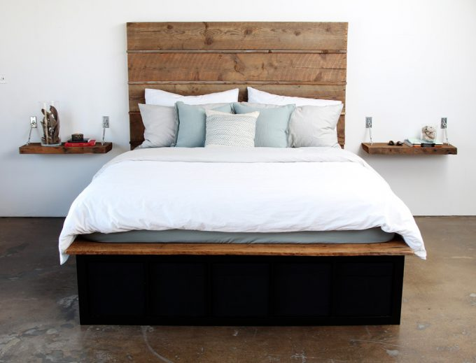 Inspiring Dark Bed With Horizontal Wood Headboard Also Ikea Compatible And Ikea Storage With Reclaimed Wood Bed And Modern Storage Bed Plus Pottery Barn Pillow Also Under Bed Storage