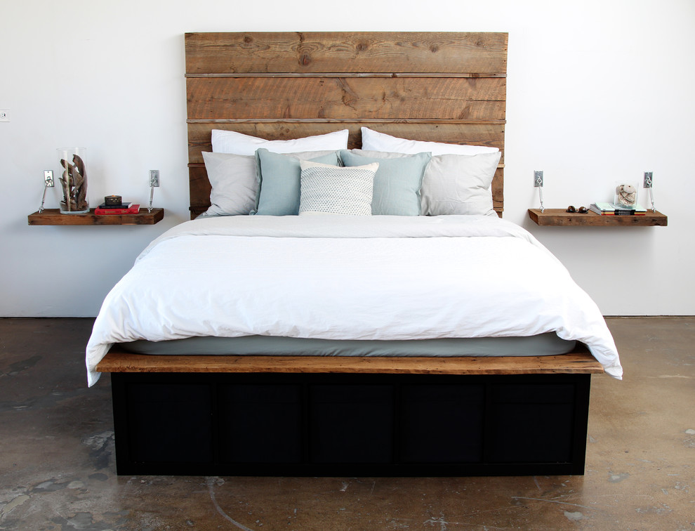 Inspiring Bedroom Decor with Reclaimed Wood Bed Ideas: Inspiring Dark Bed With Horizontal Wood Headboard Also Ikea Compatible And Ikea Storage With Reclaimed Wood Bed And Modern Storage Bed Plus Pottery Barn Pillow Also Under Bed Storage