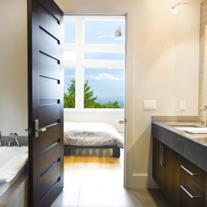 Inspiring Guest Bedroom With Contemporary Bathroom Plus Bathtub And Modern Interior Doors Also Gray Counter With Neutral Colors Plus Orchid And Double Undermount Sink Also Vanity Storage