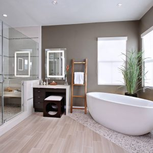 Inspiring Mixed Flooring For Bathroom Flooring Plus Bathroom Mirror Also Dressing Table With Free Standing Bath Tubs Plus Houseplants And Towel Ladder Also Walk In Shower Ideas