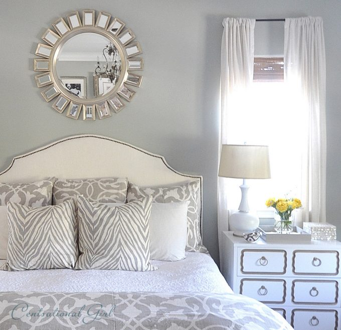 Inspiring Traditional Bedroom With Gray Wall Plus Sunburst Mirrors And Dorothy Draper Also Cordless Table Lamp On Blue Dresser With Master Bed Plus Headboard And Gray Bedding