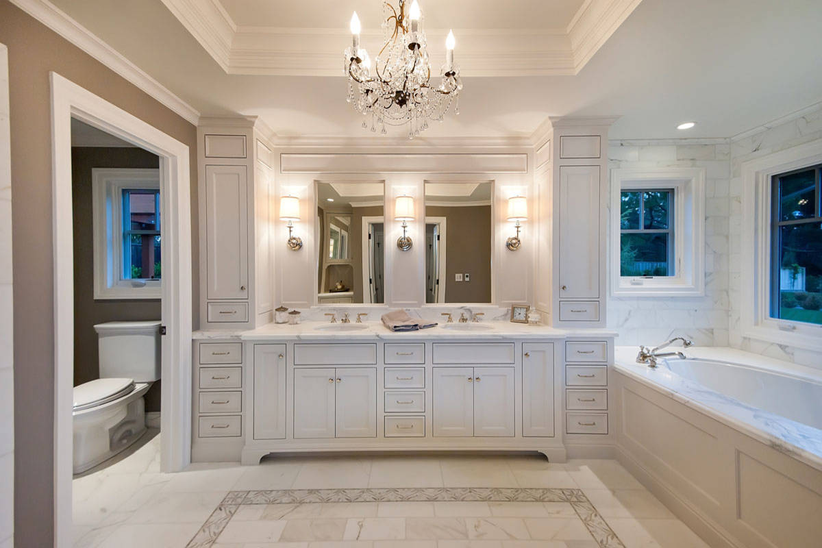 Inspiration for Remodeling Bathroom Using Water Closet: Master Bathroom Plus Crystal Chandelier And Custom Cabinet With Marble Flooring Plus Sconces And Bathroom Mirror Also Water Closet With Tile Wall And Recessed Lighting Plus Bathroom Storage