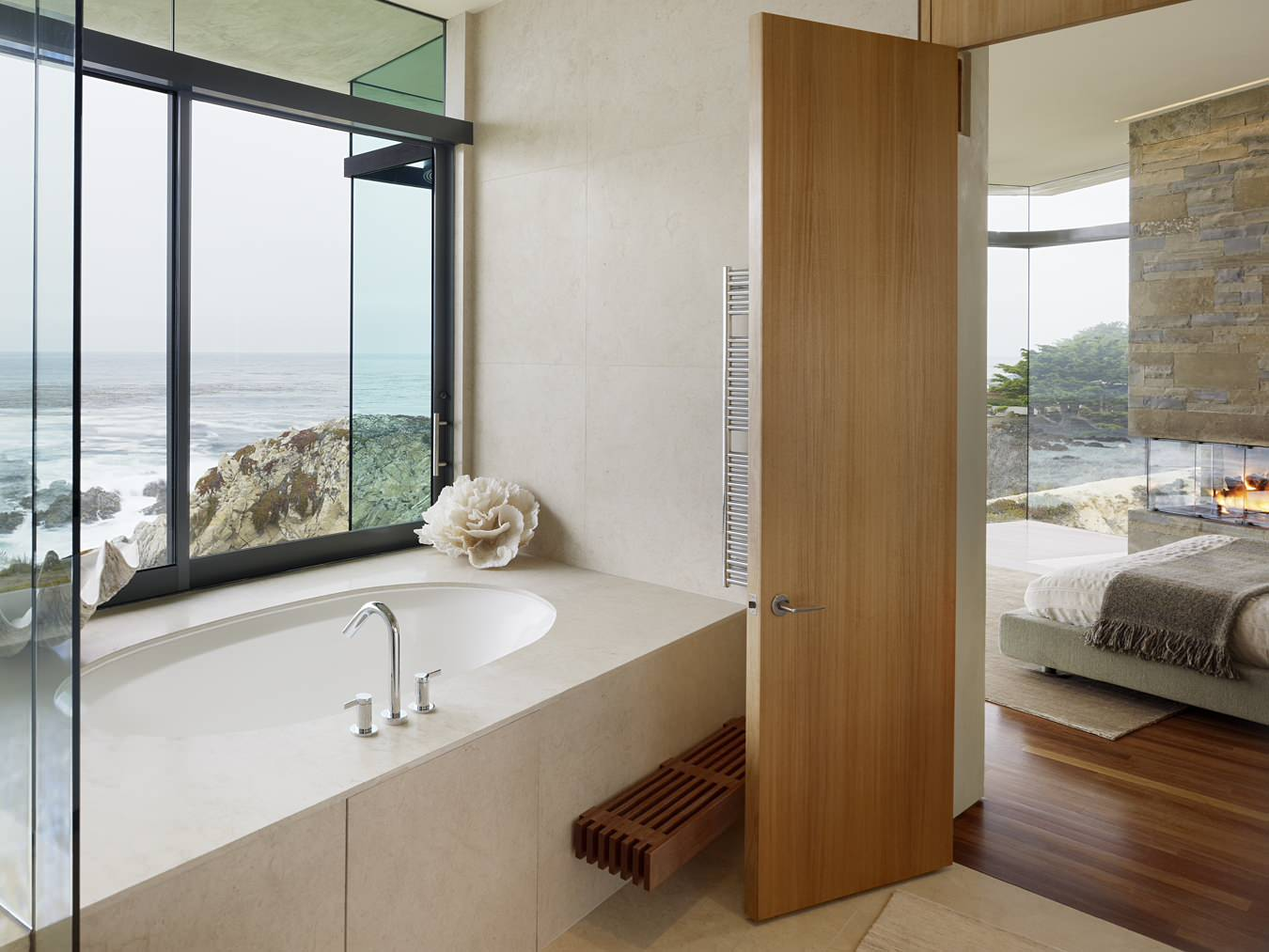 Inspiring Home Interior Using Modern Interior Doors: Master Bedroom Plus Contemporary Bathroom With Modern Interior Doors Plus Ocean View And Surround Bathtub Also Mount Faucet With Large Windows And Tile Flooring Also Walk In Shower Ideas