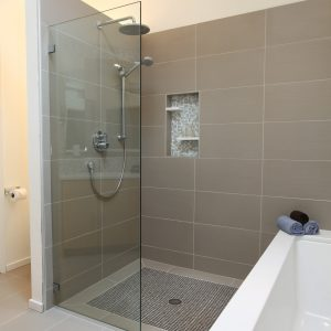 Midcentury Bathroom With Walk In Shower Ideas And Bathroom Tile Plus Curbless Shower With High Ceilings Also Skylight Plus Soaking Tub For Bathroom Remodeling With Open Shower