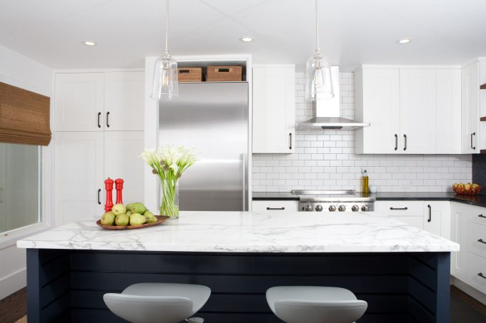 Midcentury Kitchen Plus Counter Stools And Kitchen Island With Marble Also Pendant Lights And Stainless Steel Plus Recessed Lighting Also Tile Backsplash With Dal Tile