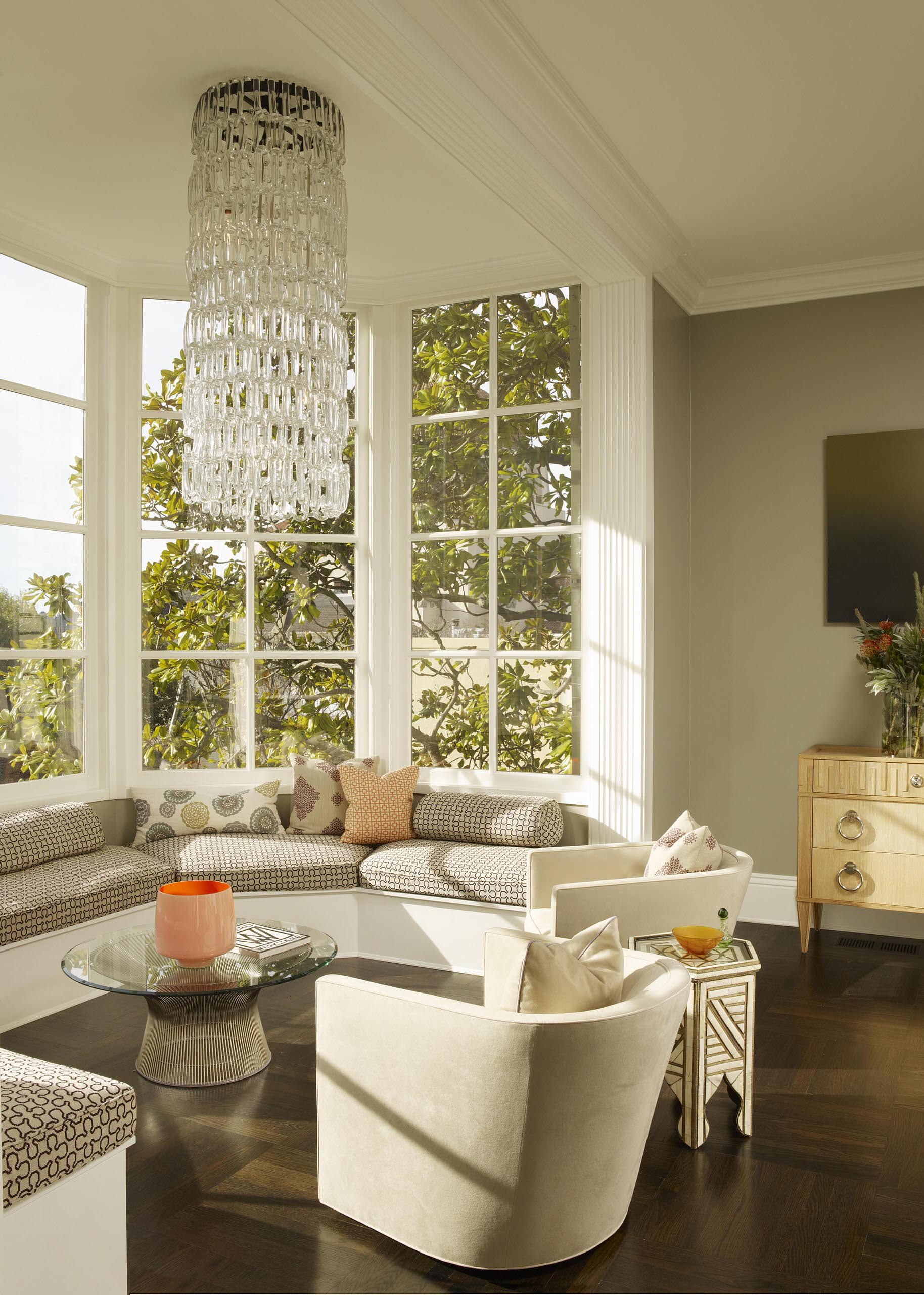 Living Room Window Seat Architecture Modern Crystal Chandelier With Bay Window Seat And
