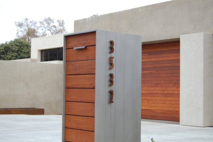 Modern Mailboxes Plus House Number And Wood Siding For Contemporary Exterior With Concrete Wall Also Concrete Flooring Plus Garage And How To Choose Exterior House Colors