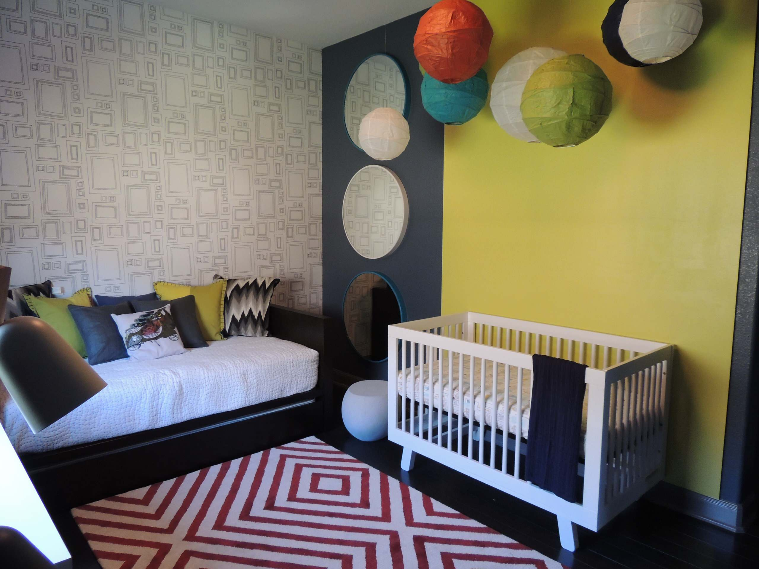 Modern Nursery With Modern Daybed Plus Decorative Pillows For Couches And Circle Mirrors Also Colorful Paper Lanterns With Frames Wallpaper For Guest Room Plus Interior Design
