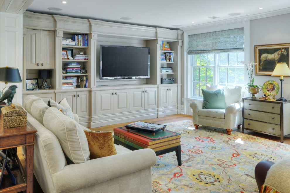 Custom Entertainment Centers for Inspiring Storage Ideas: Modern Sofa With Mid Century Coffee Table And Nightstand For Transitional Family Room Design With Custom Entertainment Centers And Roman Blinds Plus Table Lamp Also Feizy Rug