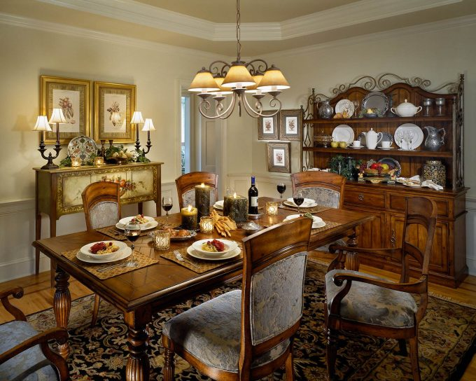 Outstanding Dining Room Plus Antique Buffet And Chandelier With Crown Molding And Oriental Carpet Plus Upholstered Dining Chairs And Wood Dining Table Also Buffet Lamps