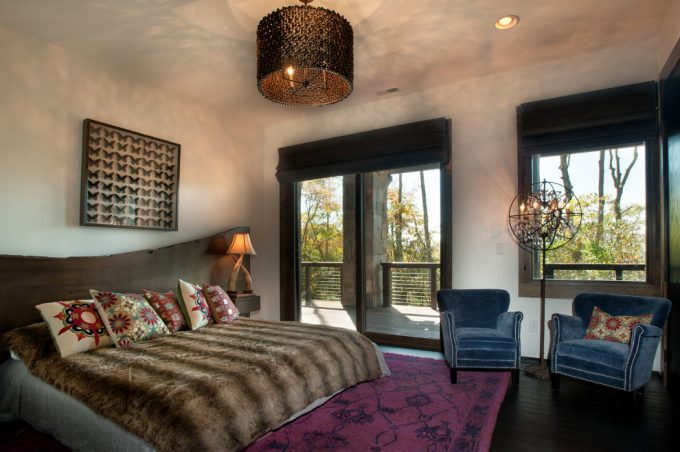 Rustic Bedroom With Cozy Bedroom Ideas Plus Slab Headboard Also Decorative Pillows And Unique Table Lamp On Nightstand With Drum Chandelier And Recessed Ceiling Plus Chandelier Floor Lamp