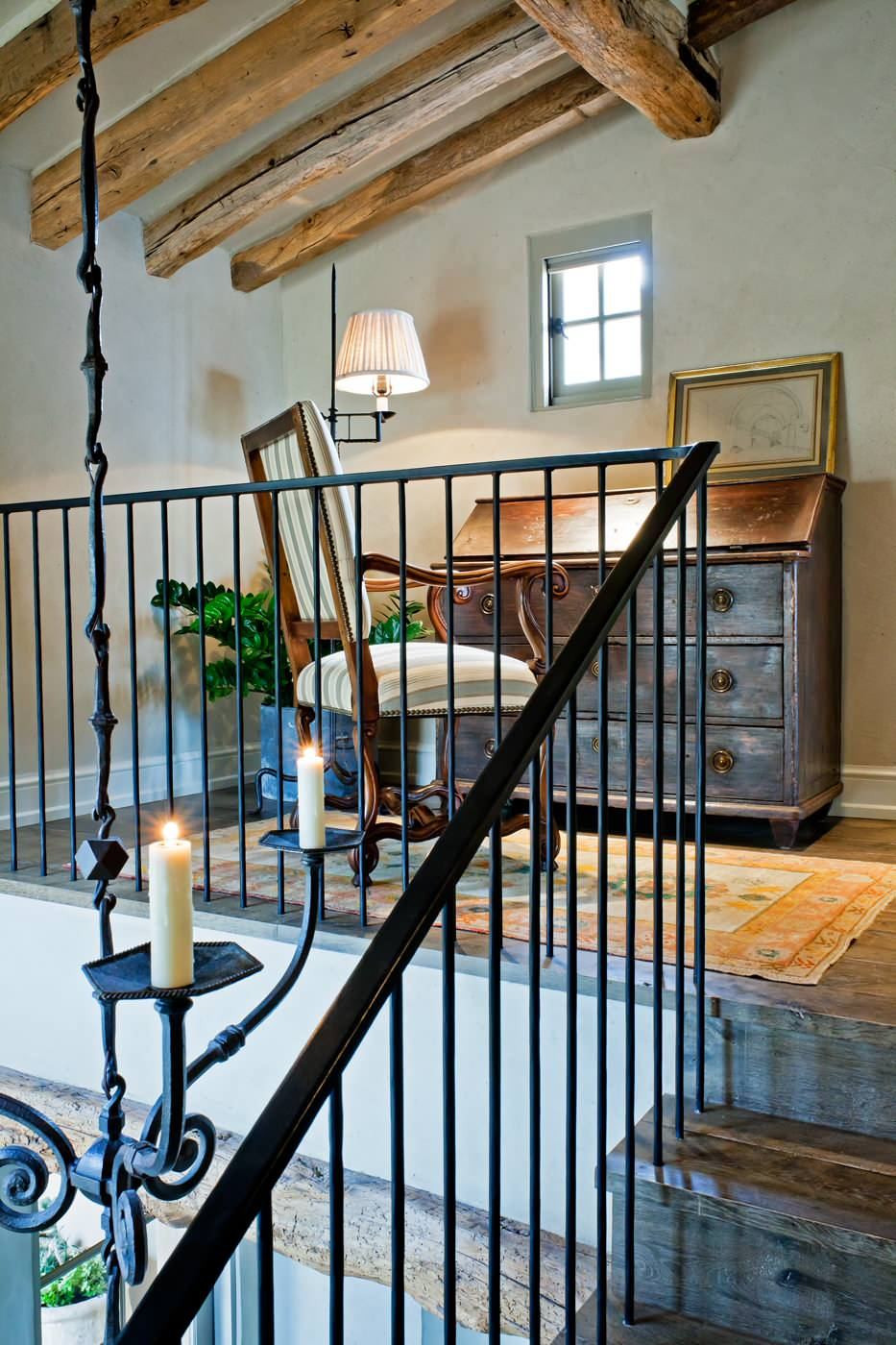 Inspiring Iron Railings Design for Staircase at Your Home: Rustic Home Office Plus Area Rug And Casement Windows With Exposed Beams In Loft Plus Secretary Desk Also Sloped Ceiling And Wood Flooring Plus Wall Shades Lamp Also Iron Railing