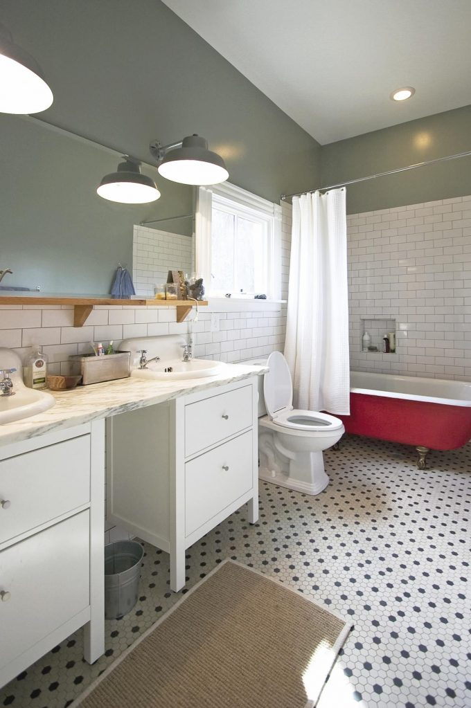 Subway Tile Bathroom With Interior Wall Paint And Bathroom Mirror Also Pendant Lighting With Bathroom Vanities And Hexagon Tile Plus Claw Foot Tub And Shower Curtain