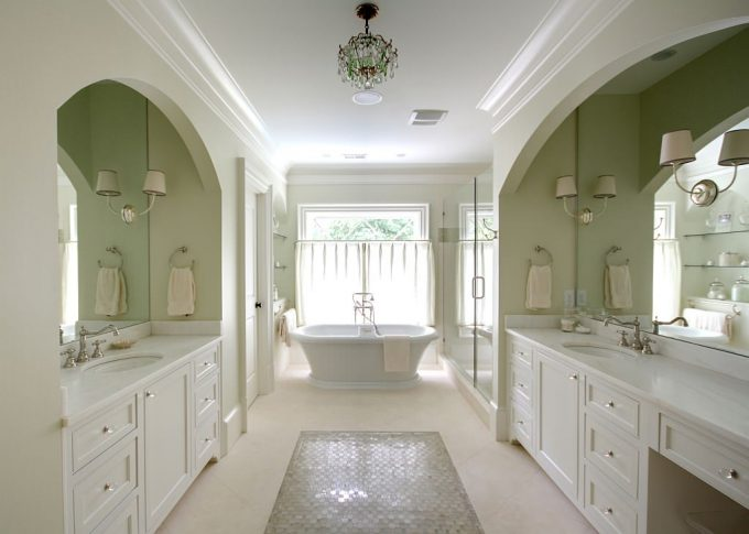 Traditional Bathroom With Arches And Bathtub Plus Clear Drawer Pulls Also Clear Knobs With Dual Vanities And Glass Shower Plus Small Chandelier Also Standalone Bath For Bathroom Remodeling