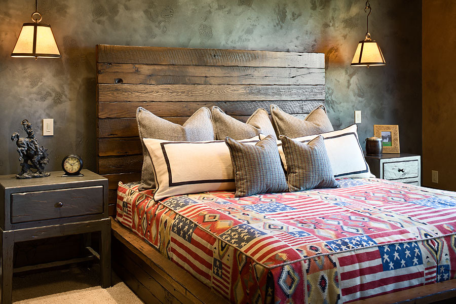 Inspiring Bedroom Decor with Reclaimed Wood Bed Ideas: Traditional Bedroom With Reclaimed Wood Bed Plus Reclaimed Headboard And Fitted Bedroom Also Cabin Bed With Drawers Nightstand Plus Hanging Lamps Also Bedroom Mat On Dark Wood Flooring