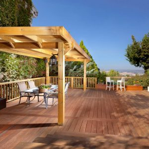 Traditional Deck Plus Barstools And Handrail Also Lanterns With Outdoor Dining Ideas Plus Outdoor Lighting Also Patio Furniture With Arbor For Pergola Ideas Plus View And Wood Railing