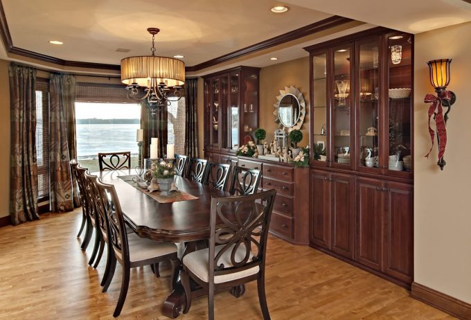 Traditional Dining Room Plus Art Deco Mirror And Built In Buffet Also Built In Dining Cabinets With Drum Chandelier For Formal Dining Room Plus Recessed Lighting Also Sconce With Wood Dining Table