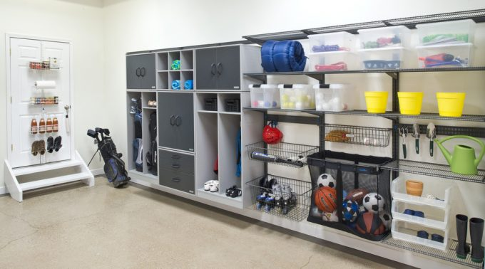 Traditional Garage And Shed Plus Garage Cabinets Also Garage Storage With Organization Systems With Concrete Flooring And White Wall Plus Storage Solutions For Shoes Storage Also Container Storage