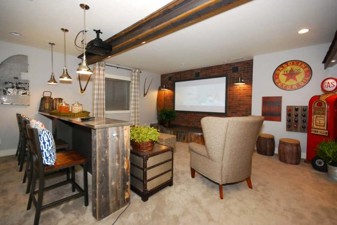 Traditional Home Theater With 2012 Parade Of Homes Plus Wingback Armchair And Beige Carpet With Portable Bars Plus Counter Stool And Pendant Light Also Projector With Projector Screen